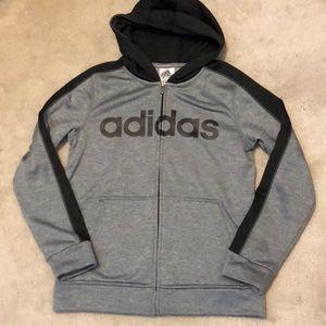Boys (10/12) Adidas grey and black zip up hoodie